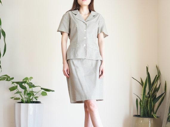 Khaki Houndstooth Skirt Suit Set / Linen Blend Sk… - image 4
