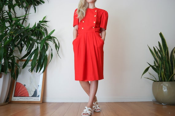 Red Double Breasted Dress / Red Linen Dress / Red
