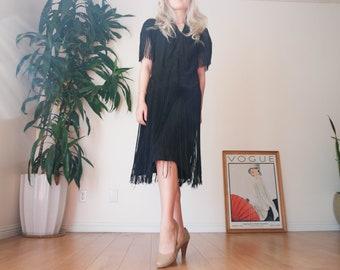 30's Black Fringe Dress / 30s Black Flapper Dress / Vintage Hand Embroidered Fringe Dress / Elegant Black Vintage Dress