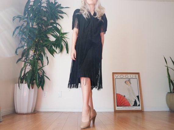 30's Black Fringe Dress / 30s Black Flapper Dress