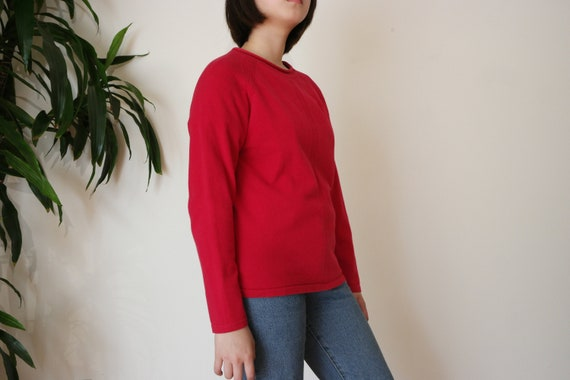 Red Knitted Sweater Top / Cotton Blend Knit Sweate