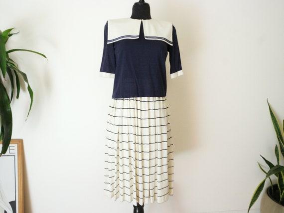 Vintage Sailor Dress / 80s Japanese Sailor Dress /