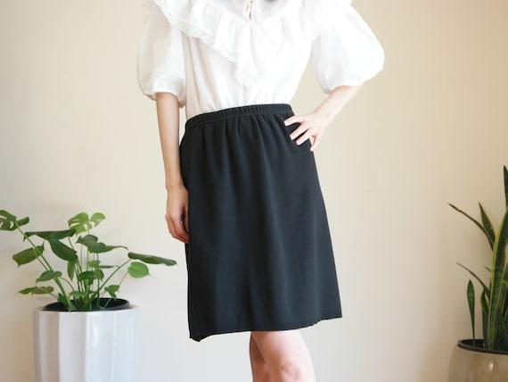 Black Cotton Skirt / Medium Black Skirt / Knit Ski