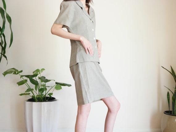 Khaki Houndstooth Skirt Suit Set / Linen Blend Sk… - image 3