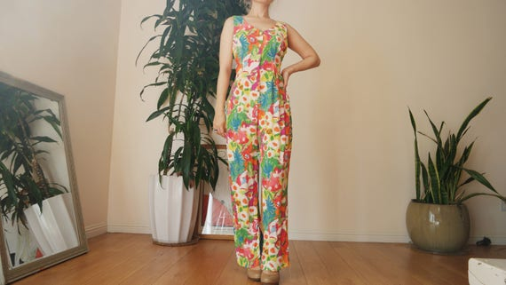 Bright Floral Jumpsuit / Button Down Abstract Flor