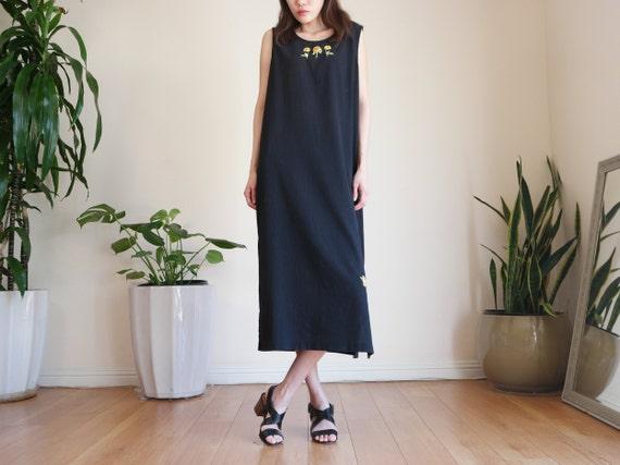 Black Rayon Market Dress / Long Dress / Black Maxi