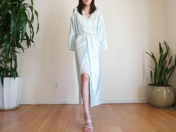 Blue Full Length Satin Robe / Full Length Robe / V