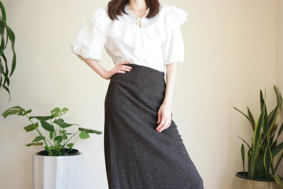 Brown Speckled Wool Skirt / Vintage Wool Blend Mid