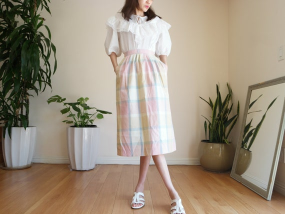 Pastel Prairie Skirt / Vintage Midi Skirt / Paste… - image 2
