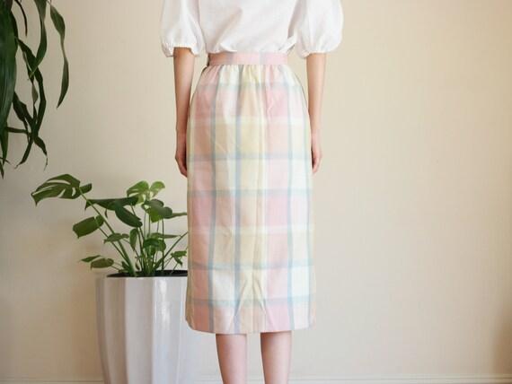 Pastel Prairie Skirt / Vintage Midi Skirt / Paste… - image 8