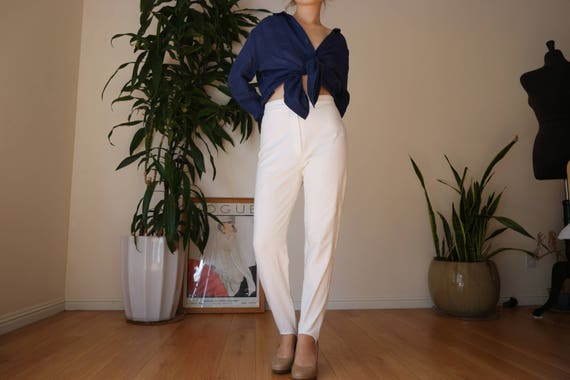 80s White Stirrup Trouser Pants / white High Waist