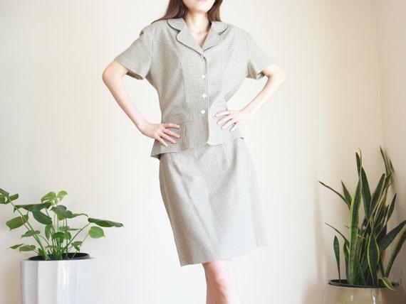 Khaki Houndstooth Skirt Suit Set / Linen Blend Sk… - image 2