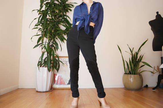 black riding pants with suede / equestrian pants /