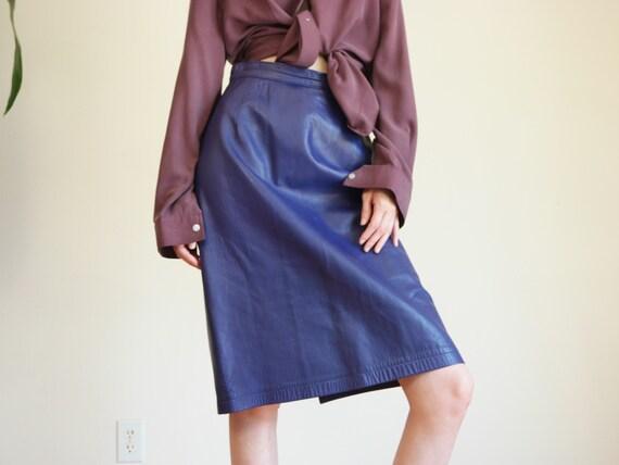 Purple Leather Skirt / Vintage Leather Skirt / Hig