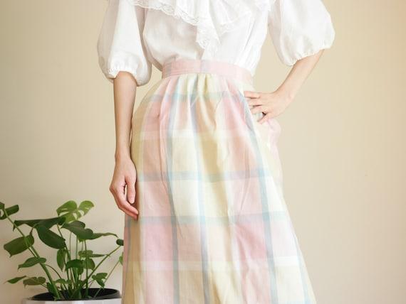 Pastel Prairie Skirt / Vintage Midi Skirt / Paste… - image 4