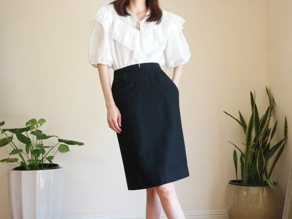 Black Wool Skirt /High Waisted Skirt / Career Wool