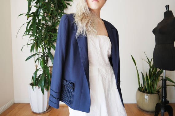 Valentino Night Navy Blue Silk Jacket / 70's Silk