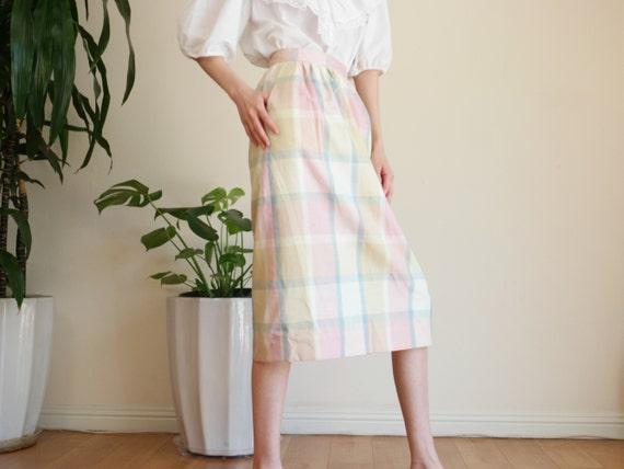 Pastel Prairie Skirt / Vintage Midi Skirt / Paste… - image 6