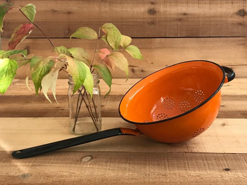 vintage enamelware colandervintage strainerretro enamelwaremade in Poland