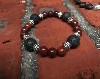 Poppy Jasper and Lava Stone Crystal Bracelet