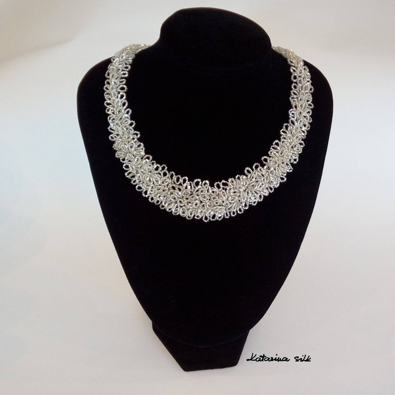 Anniversary Gift Elegant Wedding Necklace For Bride Silver Necklace Unique Gift For Woman Handmade Shiny Glass Beaded Necklace