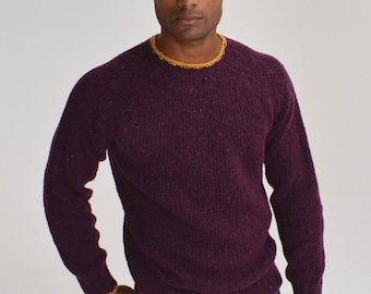 Fergal Red Donegal wool Scottish made jumper, gift for him, mens sweater, Scots knitwear, made in Scotland, gift for him, Christmas jumper