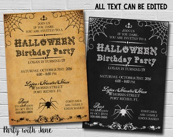 Halloween Birthday Invitation Costume Party Adult Spooky Scary Spider Vintage Invite