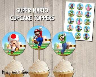 12PC 24PC STARS cupcake toppers Birthday Party Decoration Supply braw video game