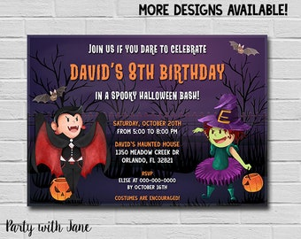 Halloween Birthday Invitation Skelletons Invite Kids Girls Boys Spooky Bash Spooktacular Costume Party Printable Moon 4x6 5x7