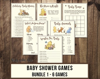 Winnie the Pooh Baby Shower Games 1, Activities, Wishes for Baby, Animals, Bingo, Price Right, Celebrities, Whats In Your Purse, Printable