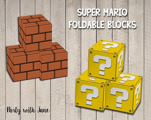 Super Mario Blocks Foldable Printable Brick Block Question Etsy