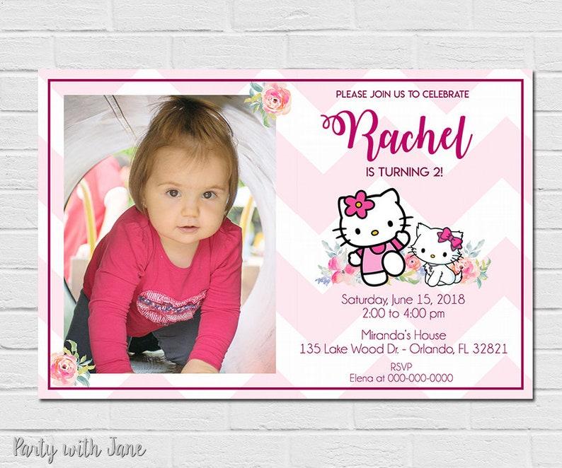 Hello Kitty Photo Birthday Invitation Invite Party Girls