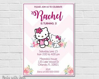 Hello Kitty Birthday Invitation, Invite, Party, Girls, Pink, Printable, Cat, Cute, Flowers, Watercolor, Chevron