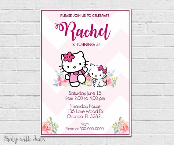 Hello Kitty Birthday Invitation Invite Party Girls Pink