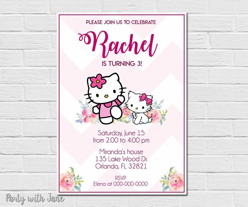 Hello Kitty Birthday Invitation Invite Party Girls Pink