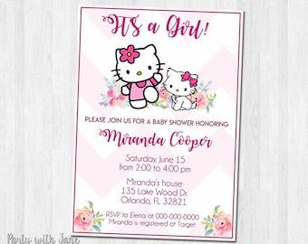 Hello Kitty Baby Shower Invitation, Baby Sprinkle, Girls, Pink, Printable
