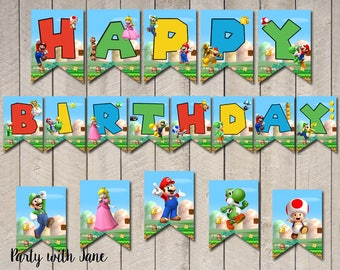 Super Mario Happy Birthday Banner Flags, Bunting, Party Decor, Birthday Decorations, Printable, Yoshi, Luigi