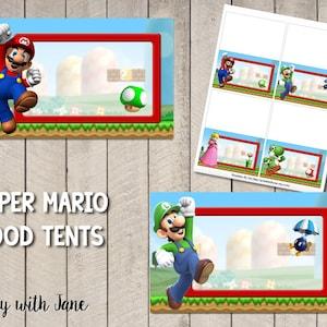 Super Mario Food Tents Place Holders Party Decor Decoration Supplies Printable Instant Download Luigi Yoshi