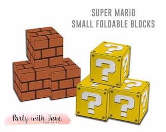 Super Mario Blocks Foldable, Printable, Brick Block, Question Coin Block, Party Decor, Decorations, Supplies