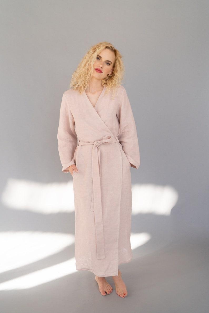 Linen Robe Linen Bathrobe. Linen Robe with Pockets Long Linen Robe Full Length Linen Dressing Gown