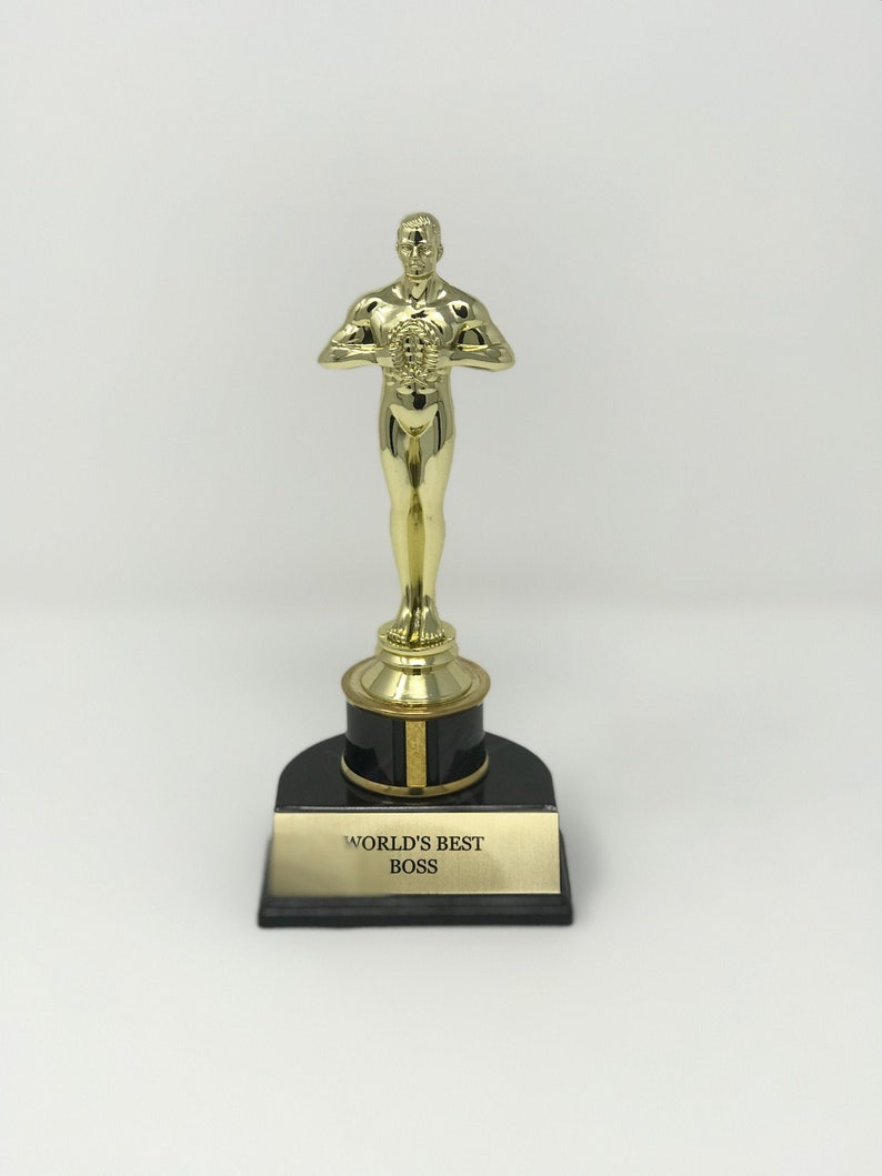 Office Christmas Party Secret Santa Award Trophies World/'s Best Boss Corporate Award Trophy Personalized Icon Style Oscars Award