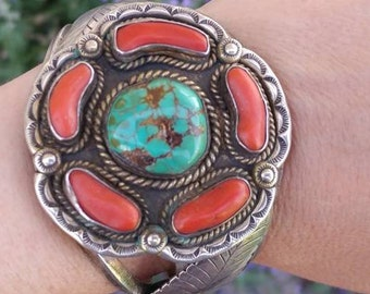 Womens vintage Native American cuff with Coral and Turquoise in Sterling Sliver, 2 1/4 inches wide and a 1 1/4 inches opening