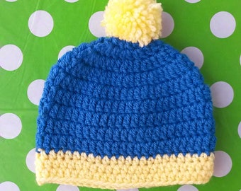 Simple Pompom Two Color Crochet Baby Hat (Made to Order)