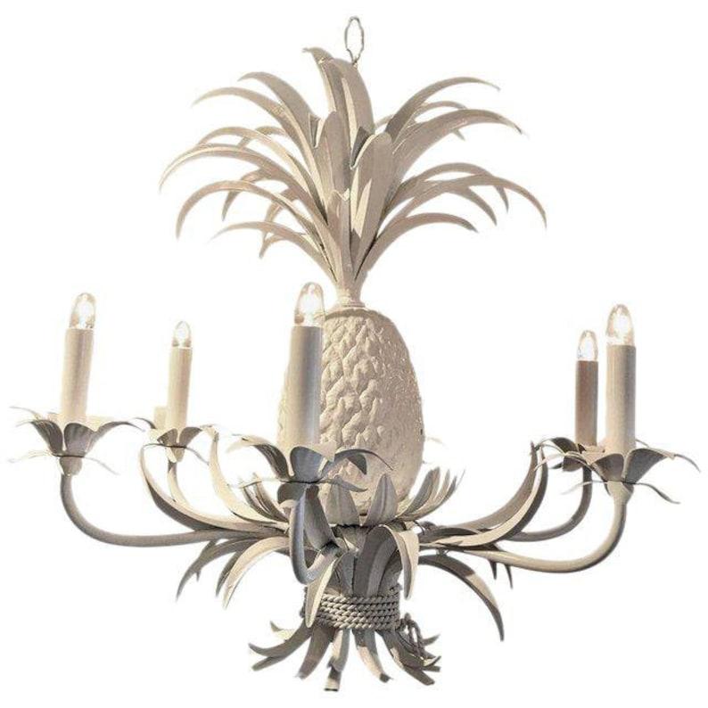 pretty nice 00963 adf8b White Midcentury Tole Pineapple Chandelier