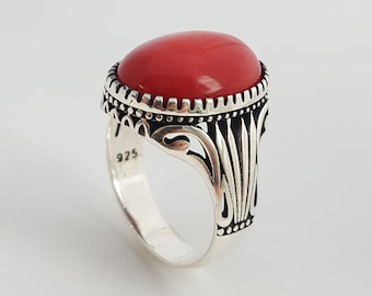 925K sterling silver mens ring with red coral stone
