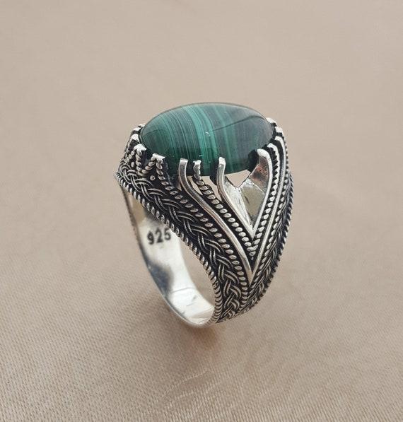 DHL Free Shipping Handmade 925k Sterling Silver Natural Malachite Stone Men/'s Ring