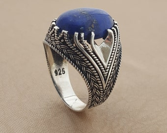 925K Sterling Silver Mens Ring Witht  Lapis Lazuli Stone