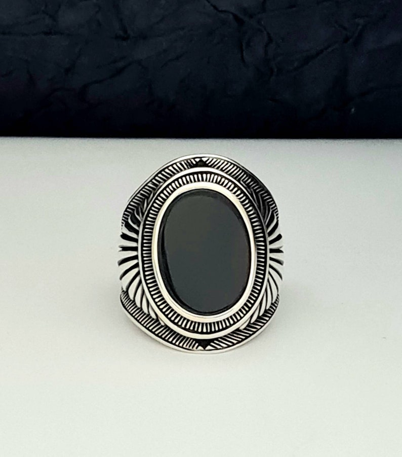 Black Onix Ring,Mens Oxidized Ring,Elegant Ring Chic,Authentic Mens Band,Unique Men/'s Ring,free exprees shipping