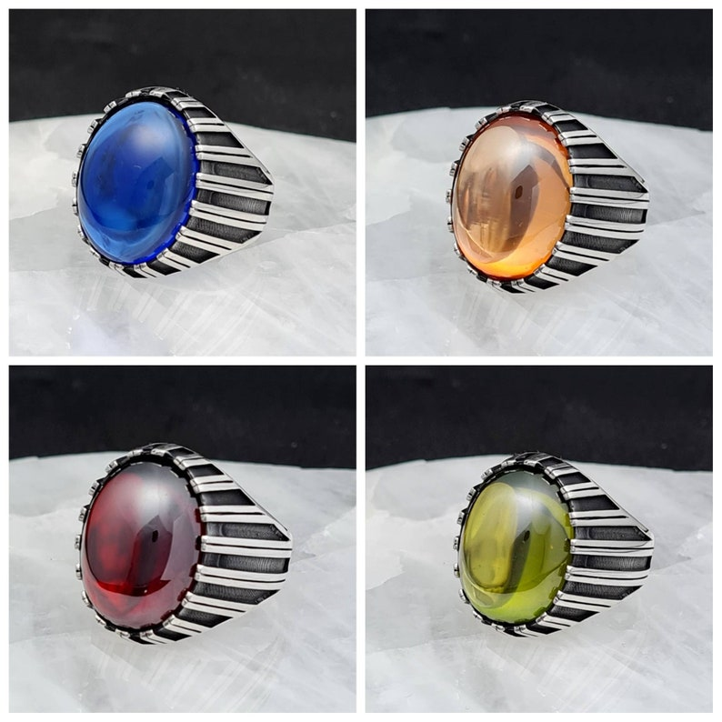 Sapphire Men/'s Ring 925 Sterling Silver,Cubic Zirconia Peridot,Garnet,Sapphire,Citrine Stone Men/'s Ring,Handmade 925 Silver Man Ring