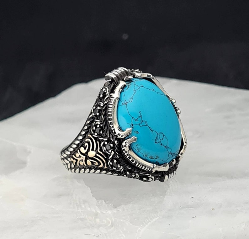 Turquoise Men Ring,Handmade 925K Sterling Silver Mens Ring With Howlite Turquoise Stone,Turquoise Man Ring